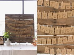 Wedding pallet Escort cards, Rustic wedding, rustic decor