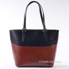 Brązowo - czarna skórzana włoska torba damska na ramię - nowy model w katalogu