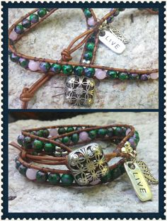 "Double wrap bracelet with emerald  green glass beads with a splash of lavender,pink and copper are stitched onto brown leather. Accented with silver tone filigree leaf and ""LIVE"" charms.Antiqued silver square filigree button closure.Welcome Spring with a new wrap!"