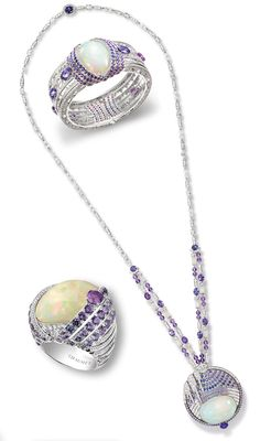 """Chaumet Opal Pieces from """"Lumières D'Eau"""" collection : necklace, ring, bracelet"""