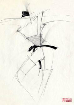 Fondazione Gianfranco Ferré / Collections / Woman / Prêt-à-Porter / 1982 / Fall / Winter Fashion Illustration Sketches, Fashion Sketches, Fashion Drawings, Ferrat, Gianfranco Ferre, Fashion Figures, Whimsical Art, Design Inspiration, Fashion Design