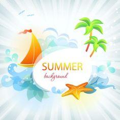 beautiful summer card 03 vector