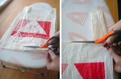 Fusing Plastic Bag Tutorial; I'm going to do this with all my Harley bags.  Not sure what to make with it though.