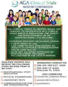 New study at AGA Clinical Trials! For what? The FLU For who? Minors between 5 & 17 years of age Contact us today for more information about this and other studies at 786-343-2486 #ClinicalTrials #AGAClinicalTrials #AGA #Hialeah #Kids #Studies #FLU #Vaccine #Miami #Florida #Research #Trials #Pharmacy #Medicine #Neostart #EstudiosMedicos #Estudios #Farmacia #Farmaceuticos #Medicina #Gripe #Moms #Mama