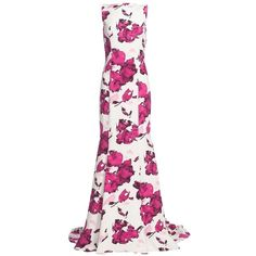 Oscar de la RentaWatercolorFloral Print SilkGown ($5,690) ❤ liked on Polyvore featuring dresses, gowns, floral dress, white floral dress, oscar de la renta gown, white evening gowns and floral evening gown