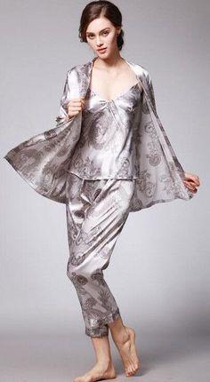 e7d25961b Fashion Men Robes Women Pajama Sets Faux Silk Sexy Couple Home Sleepwears  Pajamas Printed Pattern Long