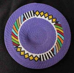 Purple Geometric  African Zulu Handmade Telephone Wire Basket/Plate - Folk Art #BlackFolkArt