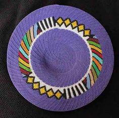 Purple Geometric  African Zulu Handmade Telephone Wire Basket/Plate - Folk Art #BlackFolkArt