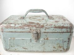 Chippy Blue Industrial Metal Tool Box  JC by bigfishlilpond, $44.00