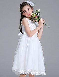 176113c706c6   39.99  Da ballo   Da principessa Al ginocchio Abito da damigella d onore  bambina - Maglia   Di pizzo Senza maniche Con decorazione gioiello con  Perle di ...