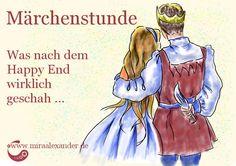 Märchenstunde: Das wahre Ende eines Happy Ends, von Mira Alexander, http://www.miraalexander.de . Das Bild zeigt ein Märchenpaar in einer Umarmung, wobei der Prinz hinter seinem Rücke ein großes Messer versteckt.