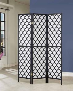 3 Panel Black And White Finish Wood Ornamental Design Room Divider Shoji Screen