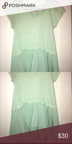 Mint green anthropologie shirt Good condition, worn a few times Anthropologie Tops Tees - Short Sleeve