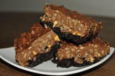 Peanut Butter Cup Crunch Brownies Recipe made with Pillsbury Dark Chocolate Mix