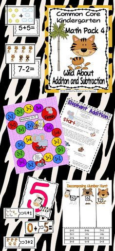 This 190+ page unit is fully aligned with Common Core Kindergarten Math: Investigating Addition and Subtraction. It includes standards to post, vocabulary cards and ideas for use, lesson plan ideas, learning games, student recording forms, plus a great deal more.  $