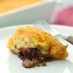 Ovenschotel met champignons, prei en wortelpuree