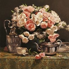Tea & Roses by Laurie Kersey Oil ~ 24 x 24