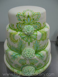 Turquoise and Lime Green wedding cake by Highland Bakery