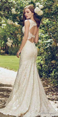 rebecca ingram 2017 bridal sleeveles lace strap v neck full embellishment elegant fit and flare trumpet wedding dress keyhole back chapel train (hope) bv