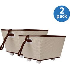 Delta Storage Bins with Wheels, Set of 2, Beige