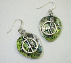 Peace Sign Spoon Earrings, Hammered Spoon Jewelry