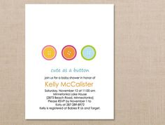 Cute as a Button Baby Shower Invitations // Birth Announcement Cards // Digital, DIY, Printable Invitation. $18.00, via Etsy.