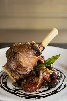 Braised Lamb Shank with Eggplant Caponata - Chef Tom Borgia, Russell House Tavern, Boston | http://restaurant-hospitality.com/chef-recipes/braised-lamb-shank-eggplant-caponata