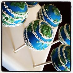 "What better Cake Pops to make for Earth day this year then little ""Earth's""   These were pretty easy!  I think you can do it!! Check it out! Here is what you will need to make the…"