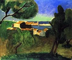 Landscape at Collioure III, 1907 - Henri Matisse Henri Matisse, Matisse Art, Matisse Paintings, Statues, Post Impressionism, Paul Gauguin, Museum Of Modern Art, French Artists, Landscape Paintings