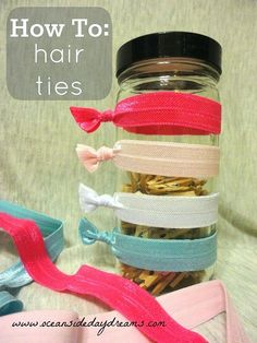 How to make elastic band hair ties.  Step 1: buy colored elastic  Step 2: cut and then tie ends