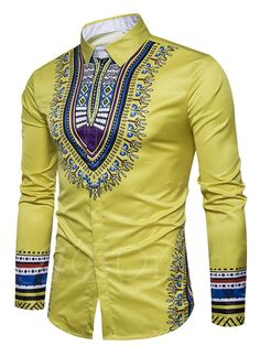 Yellow African fashion men dashiki shirt top for lover of ethnic dashiki pattern printed slice fit men's shirt. Model slim with cotton materia. African Men Fashion, Africa Fashion, Mens Fashion, African Attire, African Wear, African Style, Costume Africain, Dashiki Shirt, African Shirts