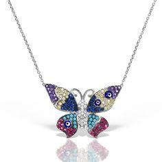 Colier argint cu pietre 44 cm colorate Fluturas - MCN0031 Jewelry, Fashion, Moda, Jewlery, Jewerly, Fashion Styles, Schmuck, Jewels, Jewelery