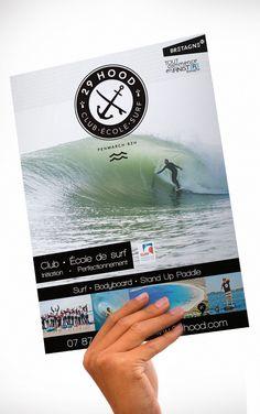 Chez Printmoinscher.fr on aime cette épingle !! Imprimerie en ligne pas cher et discount pour vos impressions http://printmoinscher.fr  Première de couverture de la Brochure / dépliant 2 volets - 4 pages de l'école de surf 29 Hood • Création et conception IKEN Communication www.iken-communication.com  #affiche, #poster, #flyer, #brochure, #neon, #fluo, #pantone, #surf, #bodyboard, #SUP, #standuppaddle, #marketing, #surfschool, #surfclub, #ancre, #anchor, #hipster, #29hood, #finistere