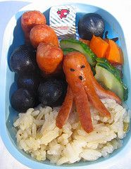 How to make an Octodog.  Take a hotdog and cut it in half.  Split the bottom into tentacles by making eight cuts, leaving the top intact (you can also get away with six cuts and have a hexapus).  Boil, pan fry, microwave or deep fry and enjoy!