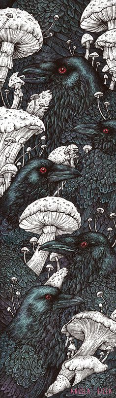 Decaye by AngelaRizza #drawing #illustration #birds Blackbirds, Mushroom Drawing, Mushroom Art, Stuffed Mushrooms, Decay Art, The Raven, Raven Bird, Crow Bird, Crow Flying