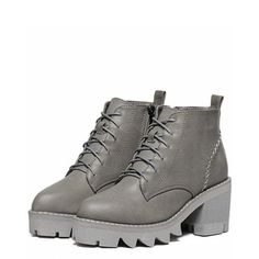 Stitching Platform Tie Up Ankle Boots ($44) ❤ liked on Polyvore featuring shoes, boots, ankle booties, platform boots, grey booties, grey ankle booties, gray ankle booties and gray short boots