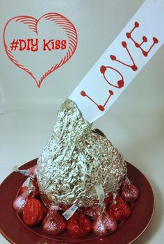 DIY Kiss Rice Krispy Treat. This is an inexpensive,  fun Valentine's Day gift for teachers, friends and family.