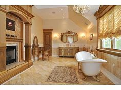 Leave it to a Real Housewife to have an ornate bathroom like this. Melissa Gorga of The Real Housewives of New Jersey decided she needed a fireplace in her bathroom, because duh, who doesn't? Melissa Gorga House, Wrought Iron Staircase, Interior And Exterior, Interior Design, Mega Mansions, Dream Bathrooms, Luxury Bathrooms, Master Bathrooms, Beautiful Bathrooms