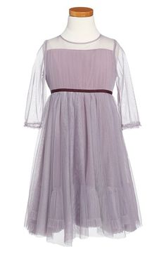 Free shipping and returns on ilovegorgeous 'Priscilla' Glitter Tulle Illusion Dress (Toddler Girls & Little Girls) at Nordstrom.com. A light dusting of twinkling glitter adds an air of mystery to this darling little party dress made of dusty lavender mesh and trimmed at the waist with a band of berry-hued grosgrain ribbon. A demure illusion top, sheer sleeves and a layered skirt complete the sweet look.