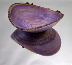 Wooden Natural Edge Purple Hackberry Bowl By Wood Expressions