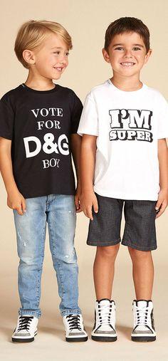 Cute! Dolce Gabbana Junior Boys Vote for DG Boys Black T-shrit Summer 2018. #DGKids #dolcegabbana #kidsfashion #fashion #style #boy #kids #summer