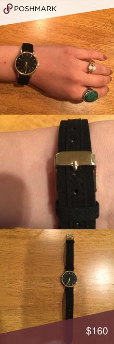 Show me your mumu suede watch black and gold Worn once- kept in jewelry box other than that. No scratches. Suede band. Sold out everywhere Show Me Your MuMu Jewelry Bracelets