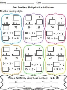math worksheet : multiplication  division fact families worksheet  3rd 4th grade  : 3rd Grade Common Core Multiplication And Division Worksheets