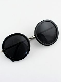 Black Round Lenses Sunglasses - Sheinside.com