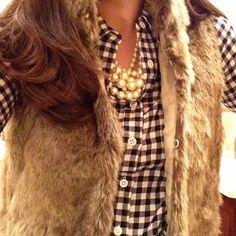 Fur vest, gingham & pearls.