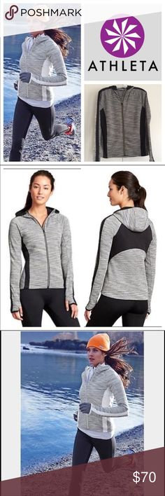 Athleta black and gray jacket - size medium. Athleta black and gray jacket - size medium. Full front zip. Raglan sleeves give flexibility to move. Thumb holes. 2 front pockets. Reflective back tape. High-low hemline gives extra coverage. I bought this as a present for my mom and she only wore this once -like-new condition! Awesome, versatile  jacket to wear almost all year. Athleta Jackets & Coats