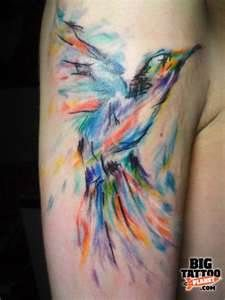 colorful birds, planet, brush strokes, watercolor tattoos, art, brushes, a tattoo, abstract hummingbird tattoos, ink