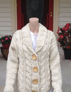 Women's 100% Peruvian Wool Cardigan Cable Sweater Hand Knit in ...