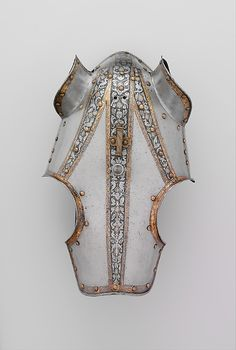Half-Shaffron (equestrian armor) made of steel, gold, brass, leather, and linen. Italian, probably Milan. ca 1570–80.