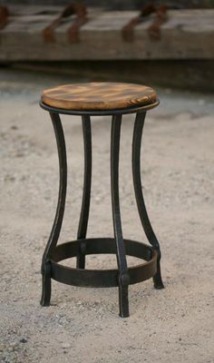 Perfect stools for the outdoor chess table. Hand-forged iron stool with hammer textured legs and burnt hardwood seat. Traditional mortise and tenon joinery. Iron Furniture, Steel Furniture, Home Decor Furniture, Furniture Design, Industrial Bar Stools, Modern Bar Stools, Vintage Industrial Furniture, Wood Steel, Wood And Metal